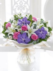 Vanda Orchid and Rose Hand-tied