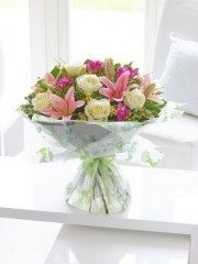 Spring Rose, Lily and Freesia Hand-tied