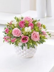 Marshmallow Pink Rose & Freesia Arrangement