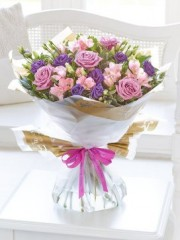 Happy Birthday Lilac Rose and Alstroemeria Hand-Tied