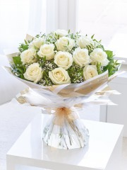 Heavenly White Rose Hand-tied