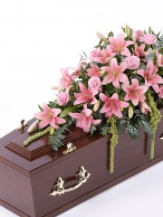 Lily and Rose Casket Spray - Pink