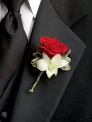 Ruby Rose & Orchid Buttonhole